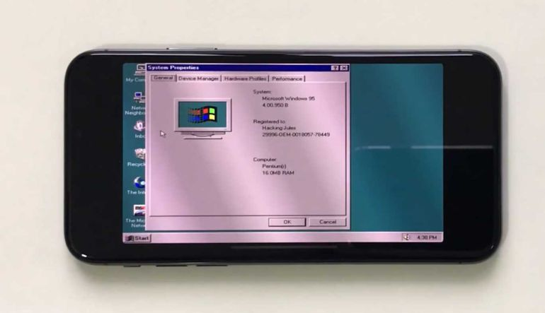iPhone X: [Video] Youtuber instala Windows 95 en un iPhone X