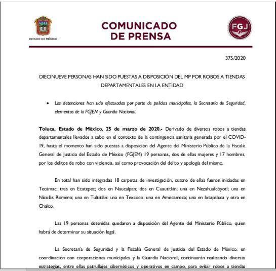La fiscalía del Estado de México comunicó la detención de 19 personas.
