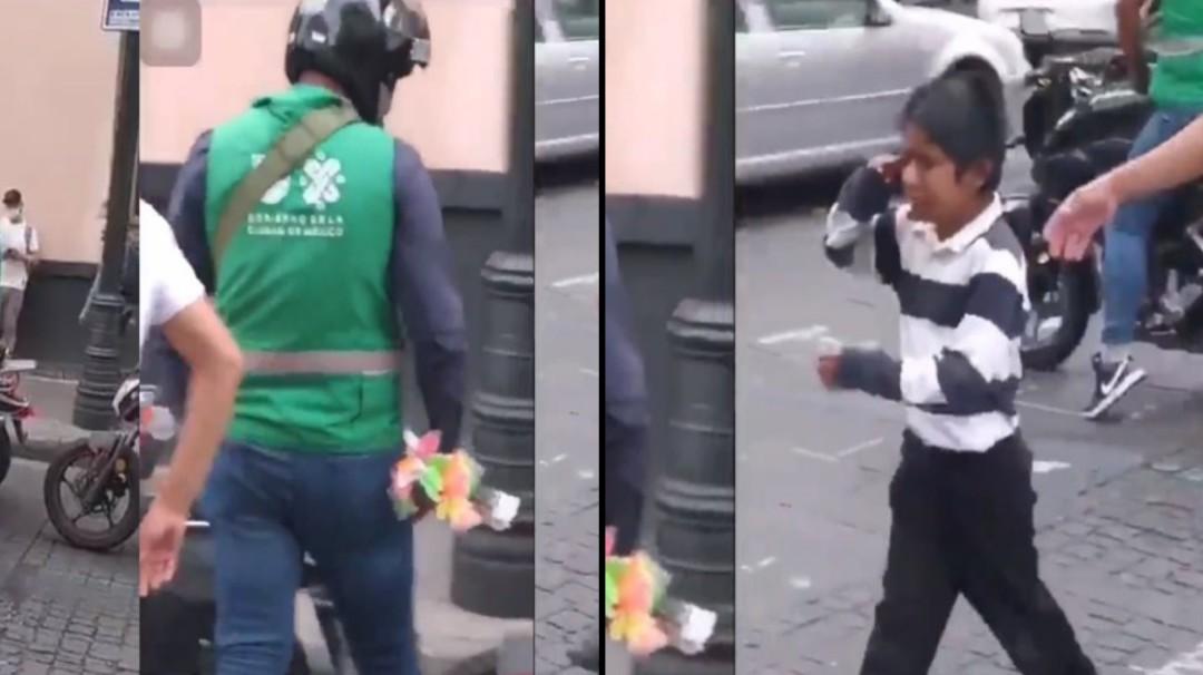 Trabajador de la CDMX hace llorar a niño y le quita mercancía que vendía