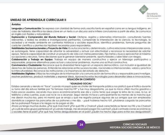 Screenshot of the 2018 BGE Program: Socioeconomic History of Mexico
