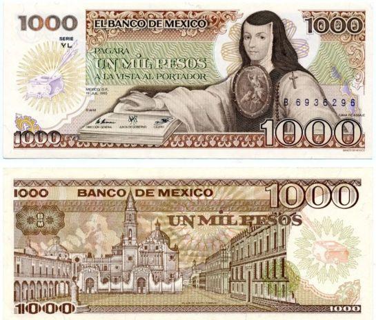 Sor Juana apareció por primera ocasión en 1978 en un billete de 1,000 pesos.
